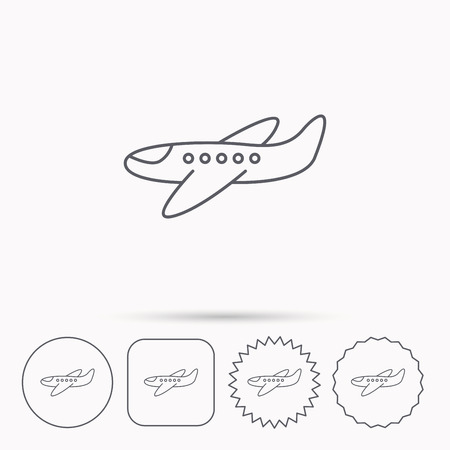 aircraft take off: Airplane icon. Aircraft travel sign. Flight transport symbol. Linear circle, square and star buttons with icons. Illustration