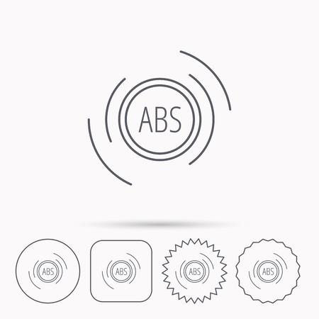 abs: ABS icon. Brakes antilock system sign. Linear circle, square and star buttons with icons.