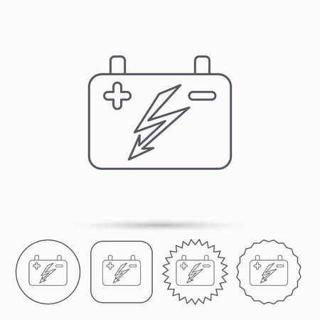 emitter: Accumulator icon. Electrical battery sign. Linear circle, square and star buttons with icons. Illustration