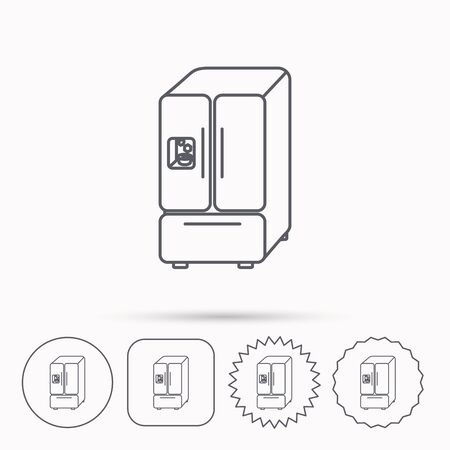 frig: American fridge icon. Refrigerator with ice sign. Linear circle, square and star buttons with icons. Illustration