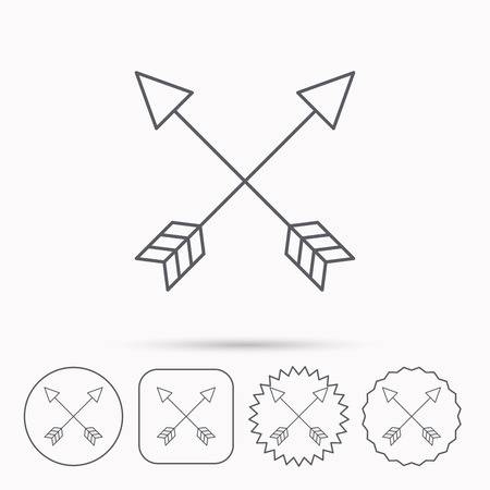 darts flying: Bow arrows icon. Hunting sport equipment sign. Archer weapon symbol. Linear circle, square and star buttons with icons.