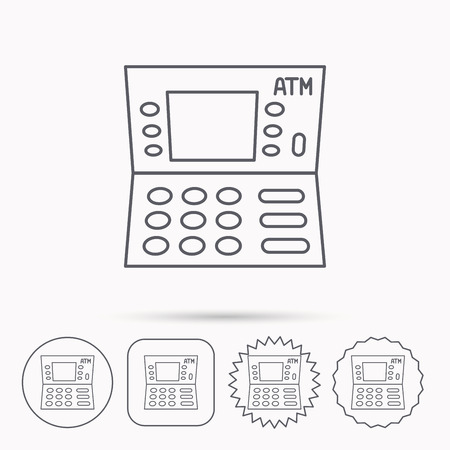 withdrawal: ATM icon. Automatic cash withdrawal sign. Linear circle, square and star buttons with icons. Illustration