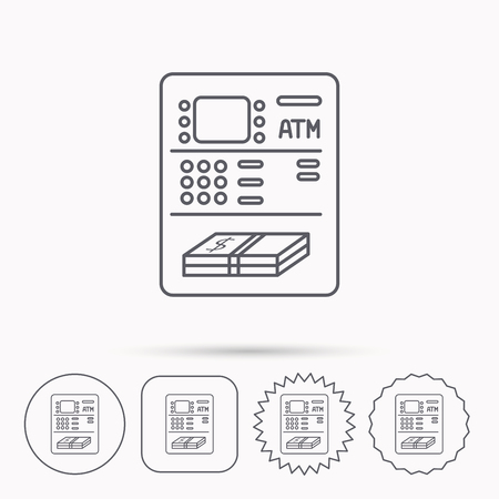 automatic transaction machine: ATM icon. Automatic cash withdrawal sign. Linear circle, square and star buttons with icons. Vectores