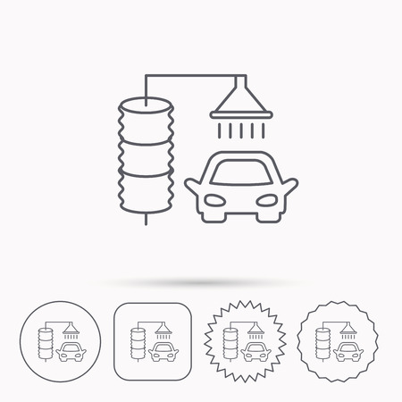 carwash: Automatic carwash icon. Cleaning station sign. Linear circle, square and star buttons with icons.