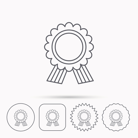 star award: Award medal icon. Winner achievement sign. Linear circle, square and star buttons with icons. Illustration