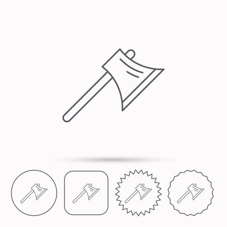 steel worker: Axe icon. Worker equipment sign. Steel weapon symbol. Linear circle, square and star buttons with icons.