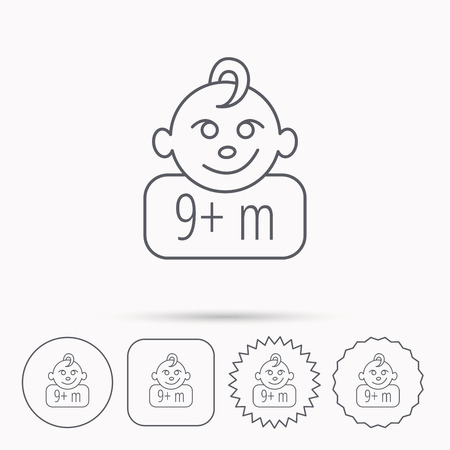 nine  months: Baby face icon. Newborn child sign. Use of nine months and plus symbol. Linear circle, square and star buttons with icons. Illustration