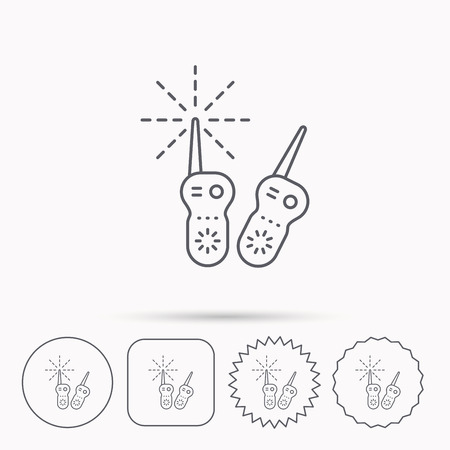 nanny: Baby monitor icon. Nanny for newborn sign. Radio set symbol. Linear circle, square and star buttons with icons.