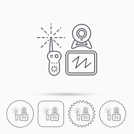 nanny: Baby monitor icon. Video nanny for newborn sign. Radio set with camera and tv symbol. Linear circle, square and star buttons with icons.