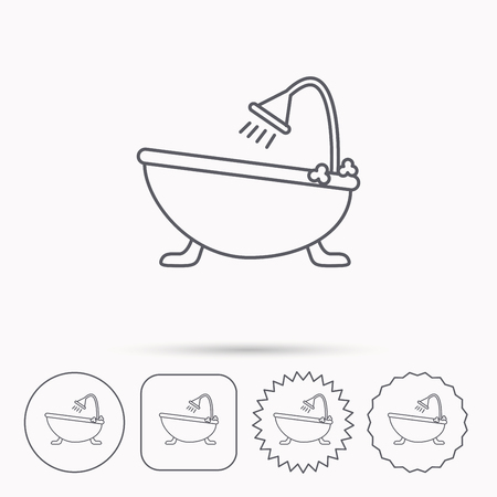 hot tub: Bathroom icon. Bath with shower sign. Linear circle, square and star buttons with icons.