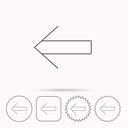 back arrow: Back arrow icon. Previous sign. Left direction symbol. Linear circle, square and star buttons with icons. Illustration