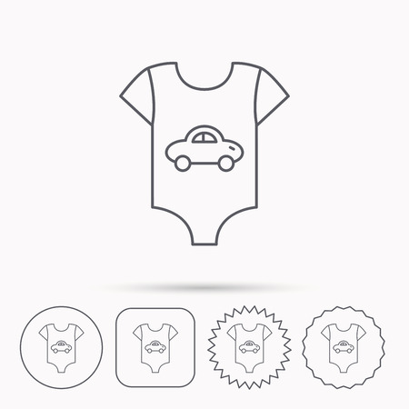 tot: Newborn clothes icon. Baby shirt wear sign. Car symbol. Linear circle, square and star buttons with icons.