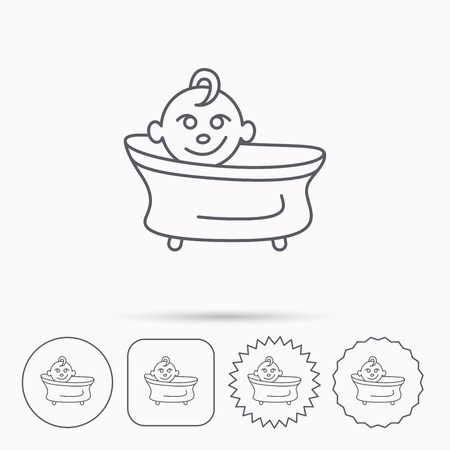 washing symbol: Baby in bath icon. Toddler bathing sign. Newborn washing symbol. Linear circle, square and star buttons with icons.
