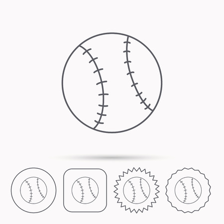team game: Baseball equipment icon. Sport ball sign. Team game symbol. Linear circle, square and star buttons with icons. Illustration