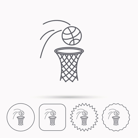 professional sport: Basketball icon. Basket with ball sign. Professional sport equipment symbol. Linear circle, square and star buttons with icons. Illustration