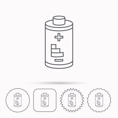 rechargeable: Battery icon. Electrical power sign. Rechargeable energy symbol. Linear circle, square and star buttons with icons.