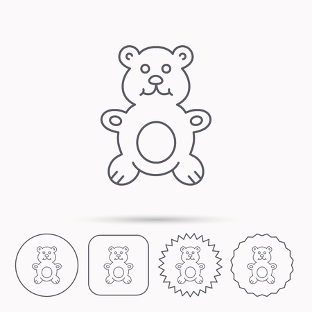 plush: Teddy-bear icon. Baby toy sign. Plush animal symbol. Linear circle, square and star buttons with icons.