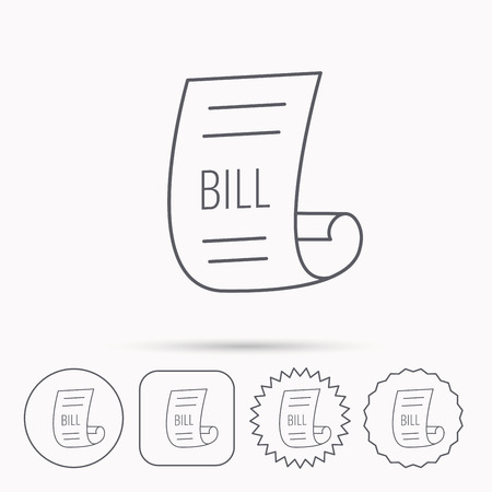 pay bill: Bill icon. Pay document sign. Business invoice or receipt symbol. Linear circle, square and star buttons with icons.