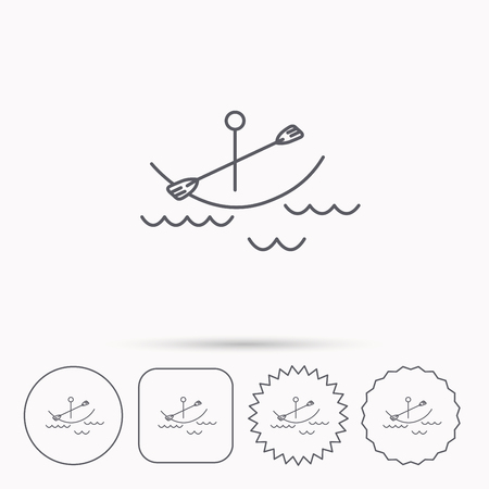 boating: Kayaking on waves icon. Boating or rafting sign. Canoeing extreme sport symbol. Linear circle, square and star buttons with icons.