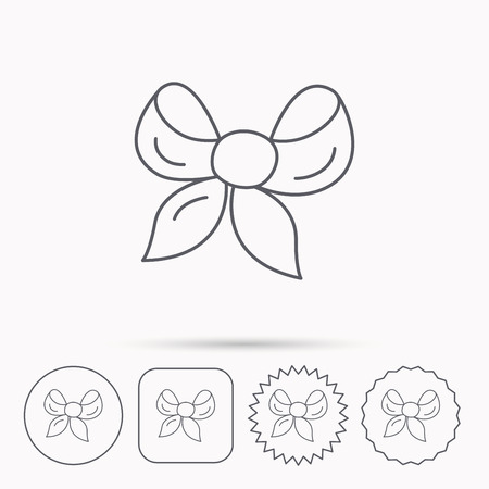 tied girl: Gift bow icon. Present decoration sign. Ribbon for packaging symbol. Linear circle, square and star buttons with icons.