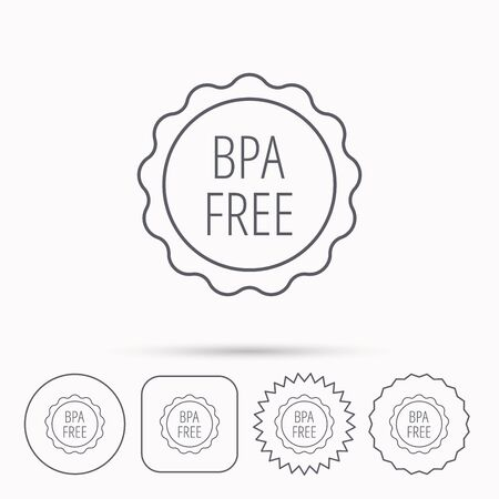 BPA free icon. Bisphenol plastic sign. Linear circle, square and star buttons with icons.
