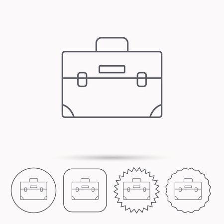 diplomat: Briefcase icon. Businessman case or diplomat sign. Hand baggage symbol. Linear circle, square and star buttons with icons.
