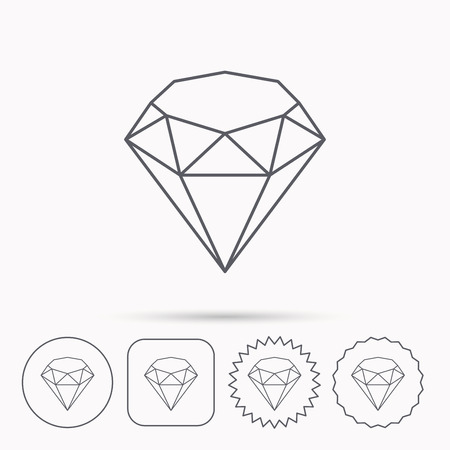 gemstone: Brilliant icon. Diamond gemstone sign. Linear circle, square and star buttons with icons.