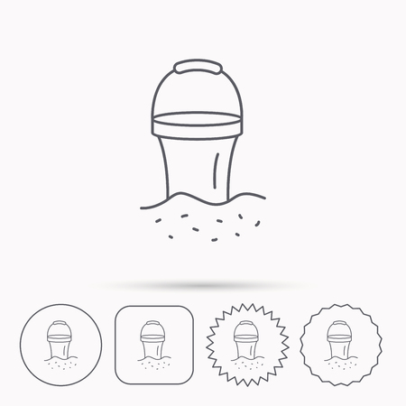 beach game: Bucket in sand icon. Trash bin sign. Child beach game symbol. Linear circle, square and star buttons with icons. Illustration