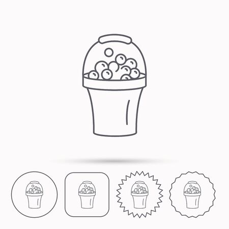 soapy: Bucket with foam icon. Soapy cleaning sign. Linear circle, square and star buttons with icons. Illustration