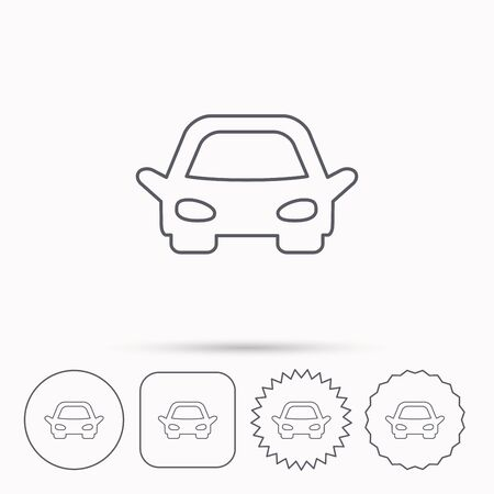 overhaul: Car icon. Auto transport sign. Linear circle, square and star buttons with icons.