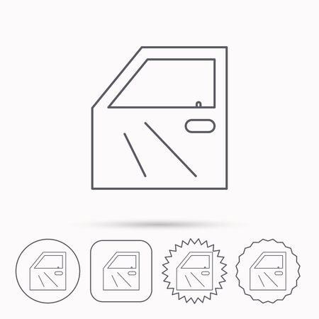 mending: Car door icon. Automobile lock sign. Linear circle, square and star buttons with icons. Illustration