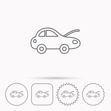 overhaul: Car repair icon. Mechanic service sign. Linear circle, square and star buttons with icons.