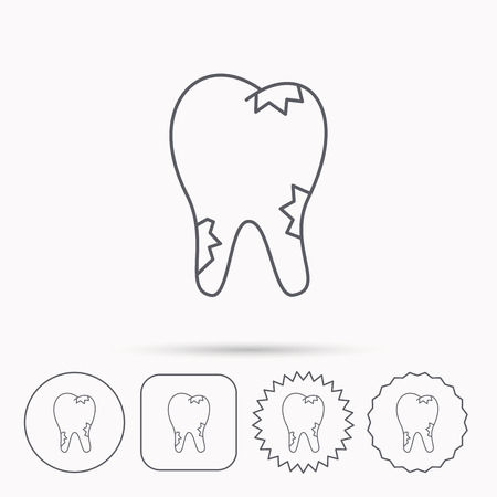 paradontosis: Caries icon. Tooth health sign. Linear circle, square and star buttons with icons. Illustration