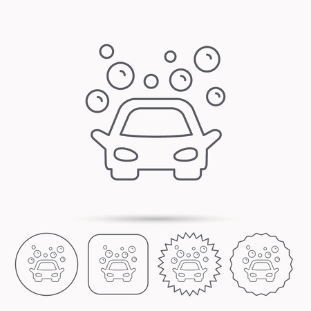 foam bubbles: Car wash icon. Cleaning station sign. Foam bubbles symbol. Linear circle, square and star buttons with icons.