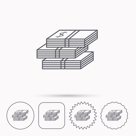 wads: Cash icon. Dollar money sign. USD currency symbol. 3 wads of money. Linear circle, square and star buttons with icons.