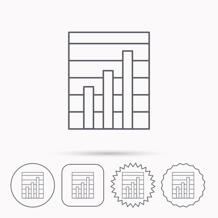 on demand: Chart icon. Graph diagram sign. Demand growth symbol. Linear circle, square and star buttons with icons.