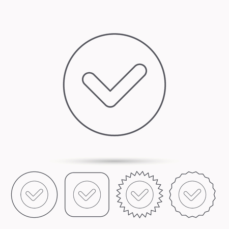 confirm: Check confirm icon. Tick in circle sign. Linear circle, square and star buttons with icons.