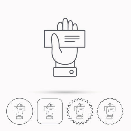 paying: Cheque icon. Giving hand sign. Paying check in palm symbol. Linear circle, square and star buttons with icons.