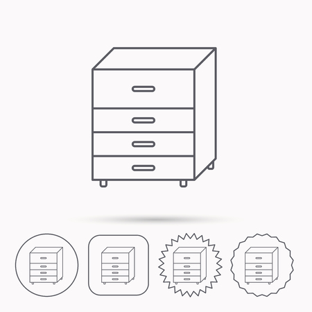 chest of drawers: Chest of drawers icon. Interior commode sign. Linear circle, square and star buttons with icons.