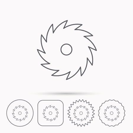 woodworking: Circular saw icon. Cutting disk sign. Woodworking sawblade symbol. Linear circle, square and star buttons with icons. Illustration