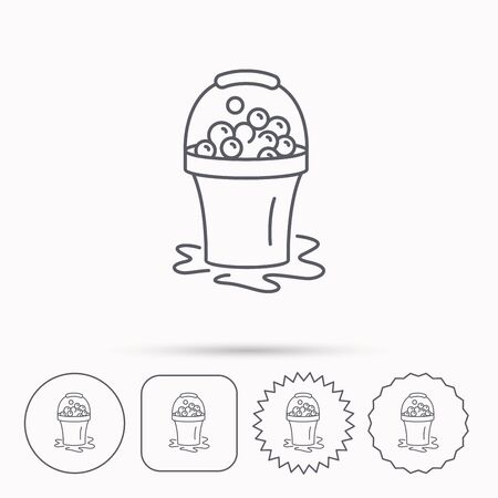 soapy: Soapy cleaning icon. Bucket with foam and bubbles sign. Linear circle, square and star buttons with icons.