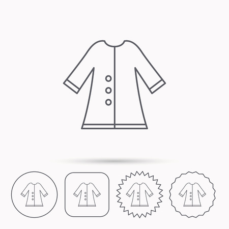 outerwear: Cloak icon. Protection jacket outerwear sign. Gardening clothes symbol. Linear circle, square and star buttons with icons.
