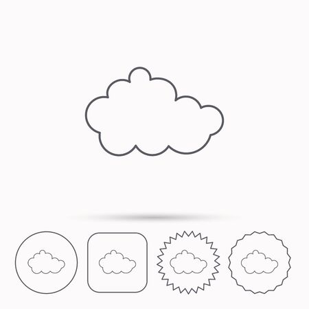 overcast: Cloud icon. Overcast weather sign. Meteorology symbol. Linear circle, square and star buttons with icons.