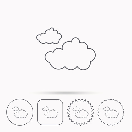 overcast: Cloudy icon. Overcast weather sign. Meteorology symbol. Linear circle, square and star buttons with icons. Illustration