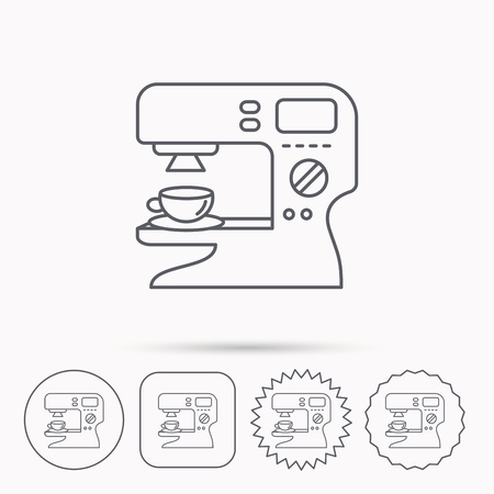 sign maker: Coffee maker icon. Hot drink machine sign. Linear circle, square and star buttons with icons.