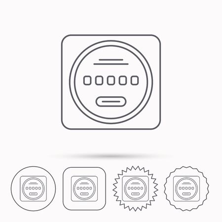star power: Electricity power counter icon. Measurement sign. Linear circle, square and star buttons with icons.