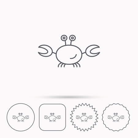 shellfish: Crab icon. Cancer shellfish sign. Wildlife symbol. Linear circle, square and star buttons with icons. Illustration