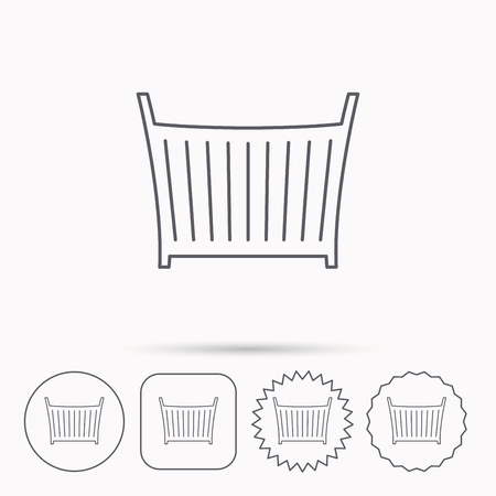 baby crib: Baby crib bed icon. Child cradle sign. Newborn sleeping cot symbol. Linear circle, square and star buttons with icons.