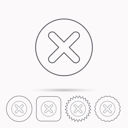 Delete icon. Decline or Remove sign. Cancel symbol. Linear circle, square and star buttons with icons.