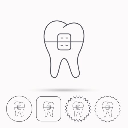 Dental braces icon. Tooth healthcare sign. Orthodontic symbol. Linear circle, square and star buttons with icons.